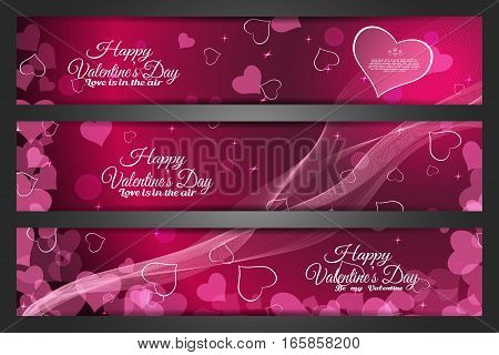 Vector set of wide greeting bookmarks for Valentine's Day on the abstract dark pink background with heart shape waves and text.