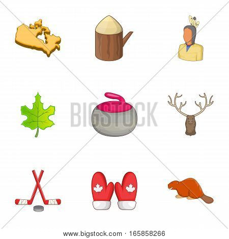 Canada elements icons set. Cartoon illustration of 9 Canada elements vector icons for web