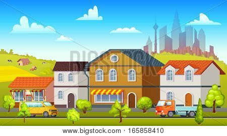 Colorful landscape template with suburban buildings green trees farm cityscape truck and bus on road vector illustration
