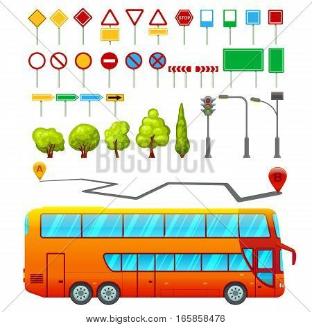 City transport elements set with public bus road signs trees traffic lights and navigation route isolated vector illustration