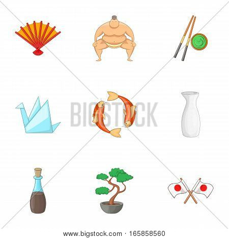 Japan elements icons set. Cartoon illustration of 9 Japan elements vector icons for web