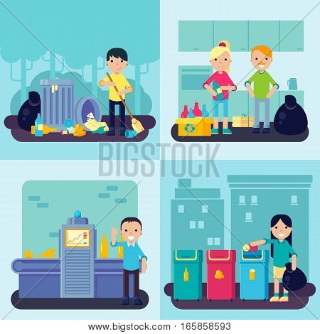 Flat waste concept with people gathering sorting recycling of garbage and trash vector illustration