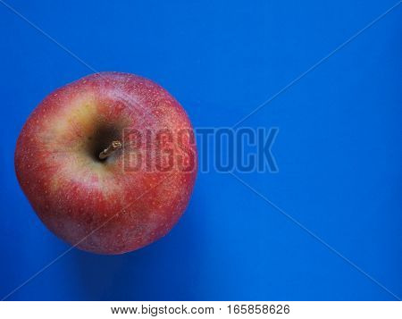 red apple (Malus domestica) fruit vegetarian food over blue background