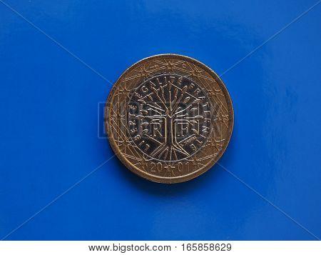 1 Euro Coin, European Union, France Over Blue