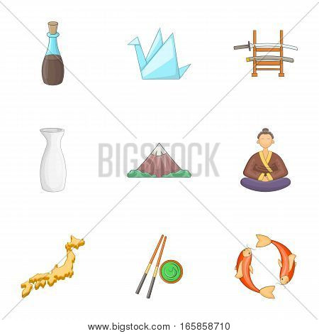 Japan culture icons set. Cartoon illustration of 9 Japan culture vector icons for web