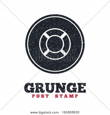Grunge post stamp. Circle banner or label. Lifebuoy sign icon. Life salvation symbol. Dirty textured web button. Vector