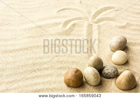 Sand and stones. Beach composition with copy space.