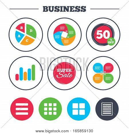 Business pie chart. Growth graph. List menu icons. Content view options symbols. Thumbnails grid or Gallery view. Super sale and discount buttons. Vector