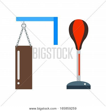 Punching bag flat illustration training equipment. Boxing sport gym sport isolated health action tool. Knockout exercise boxer activity fitness.