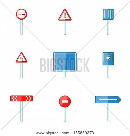 Warning road sign icons set. Cartoon illustration of 9 warning road sign vector icons for web
