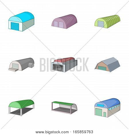 Storehouse icons set. Cartoon illustration of 9 storehouse, vector icons for web