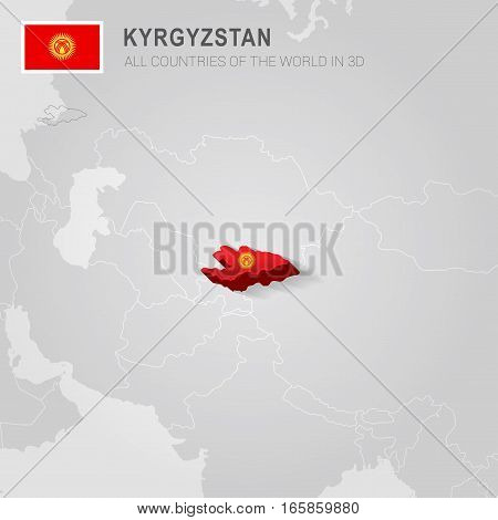 Kyrgyzstan painted with flag drawn on a gray map.