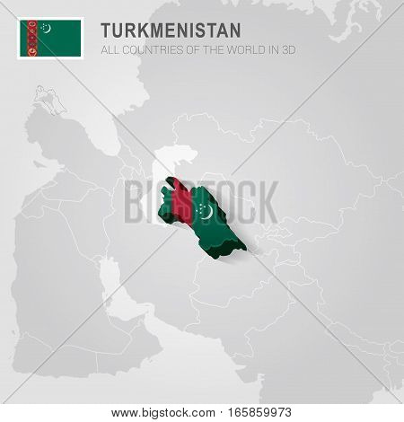 Turkmenistan painted with flag drawn on a gray map.