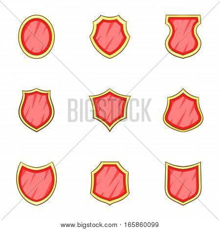 Shield shape icons set. Cartoon illustration of 9 shield shape vector icons for web