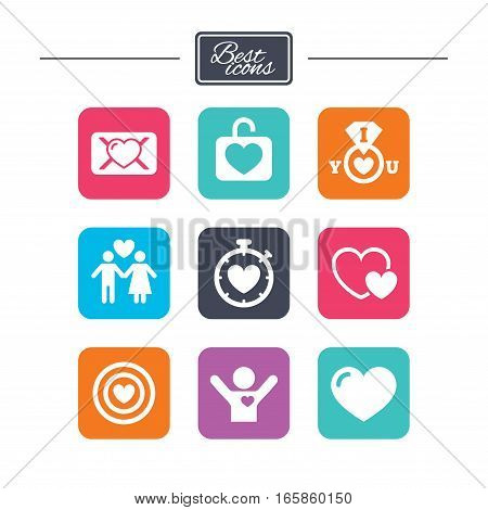 Love, valentine day icons. Target with heart, oath letter and locker symbols. Couple lovers, boyfriend signs. Colorful flat square buttons with icons. Vector