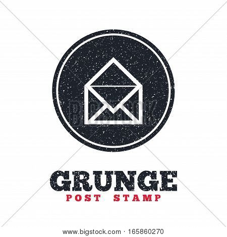Grunge post stamp. Circle banner or label. Mail icon. Envelope symbol. Message sign. Mail navigation button. Dirty textured web button. Vector