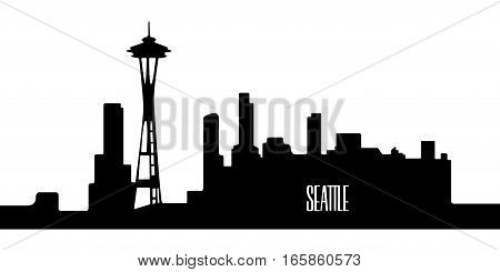 Isolated Silhouette Of Seattle