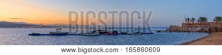 Panorama Of Boats At Sunrise In Gulf Of Aqaba