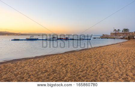 Boats At Sunrise In Gult Of Aqaba