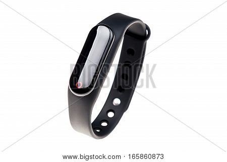 Right side view of black smart watch isolated on a white background