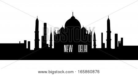 Isolated Silhouette Of New Delhi