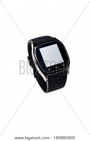Left side view of black smart watch isolated on a white background