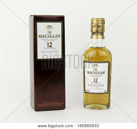 Spencer Wisconsin January 19 2016 Mini bottle of Macallan 12 year old Scotch Whisky Macallan is a single malt whisky from Scotland founded in 1824