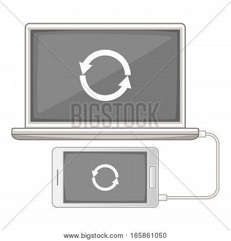 devices synchronization icon. Cartoon illustration of devices synchronization vector icon for web design