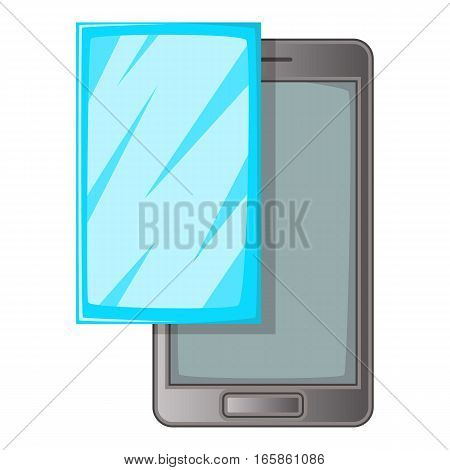 Smartphone with protector film icon. Cartoon illustration of smartphone with protector film vector icon for web design