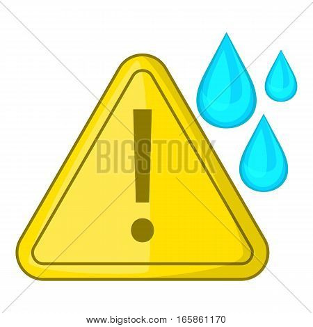 Warning sign and drops icon. Cartoon illustration of warning sign and drops vector icon for web design
