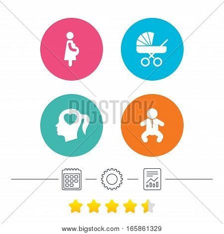 Maternity icons. Baby infant, pregnancy and buggy signs. Baby carriage pram stroller symbols. Head with heart. Calendar, cogwheel and report linear icons. Star vote ranking. Vector