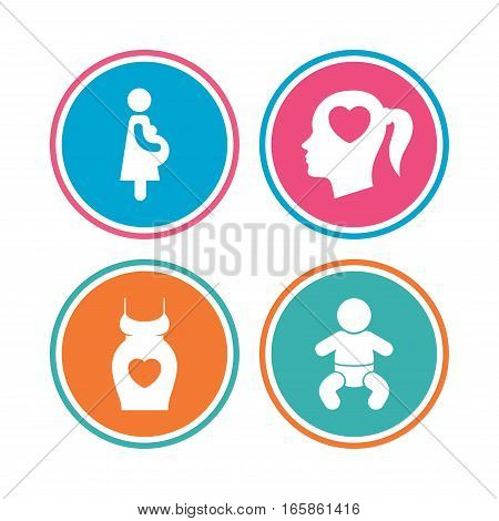 Maternity icons. Baby infant, pregnancy and dress signs. Head with heart symbol. Colored circle buttons. Vector