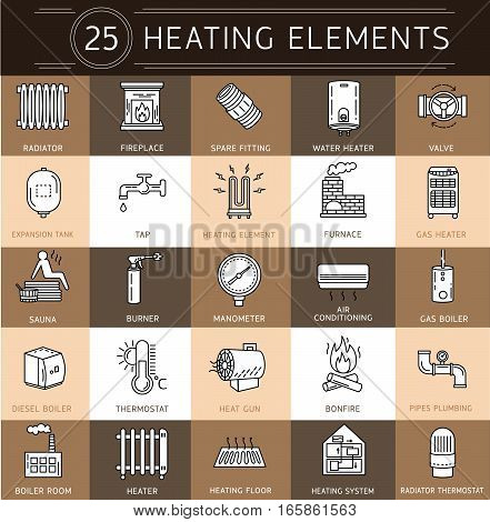 Vector thin line icon of heating.Linear pictogram with editable strokes for heating system.Elements - radiator boiler thermostat manometer burner pipes plumbing valve and heater/Heating elements