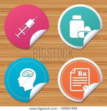 Round stickers or website banners. Medicine icons. Medical tablets bottle, head with brain, prescription Rx and syringe signs. Pharmacy or medicine symbol. Circle badges with bended corner. Vector