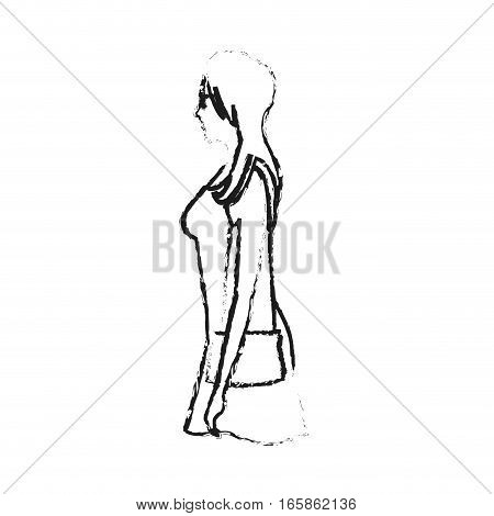 woman cartoon icon over white background. vector illustration