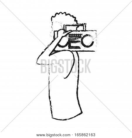 man with a boombox cartoon icon over white background. vector illustration
