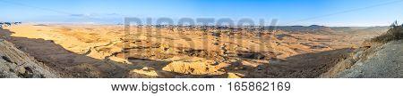 Wide Sunset Panorama Of Ramon Crater (makhtesh)