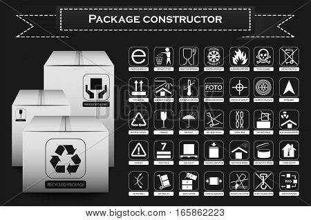 Package constructor. Packaging symbols. Icon set including waste recycling fragile flammable this side up handle with care keep dry and others. Vector illustration