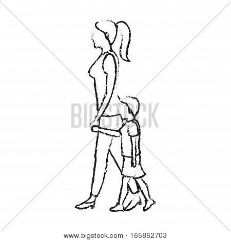woman with a kid walking cartoon icon over white background. vector illustration