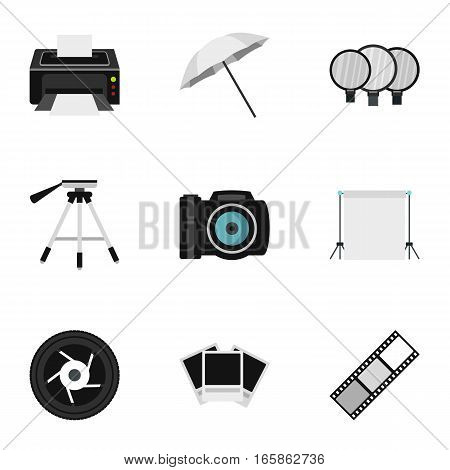 Photographic icons set. Flat illustration of 9 photographic vector icons for web