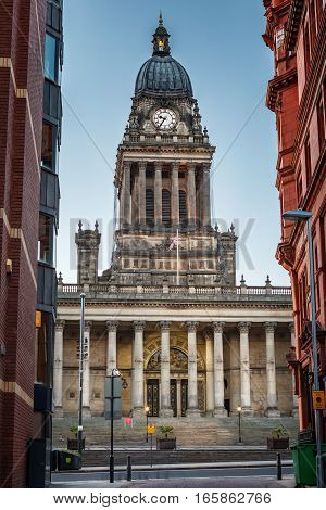 Leeds Town Hall was built between 1853 and 1858 on Park Lane Leeds West Yorkshire England.