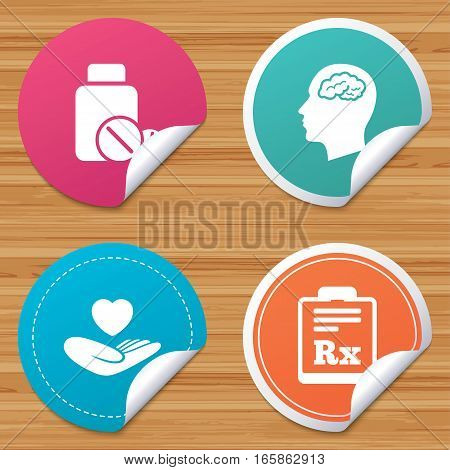 Round stickers or website banners. Medicine icons. Medical tablets bottle, head with brain, prescription Rx signs. Pharmacy or medicine symbol. Hand holds heart. Circle badges with bended corner