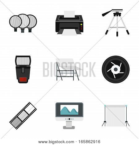 Photographing icons set. Flat illustration of 9 photographing vector icons for web
