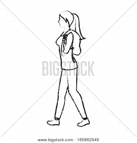 woman walking cartoon icon over white background. vector illustration