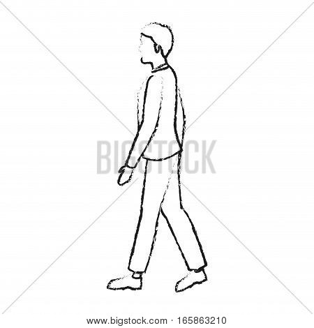 man walking cartoon icon over white background. vector illustration