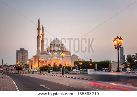 The Al Noor Mosque is a mosque in Sharjah. It is located on the Khaled lagoon at the Buhaira Corniche. It is of Turkish Ottoman design and was influenced by the Sultan Ahmed Mosque in Turkey