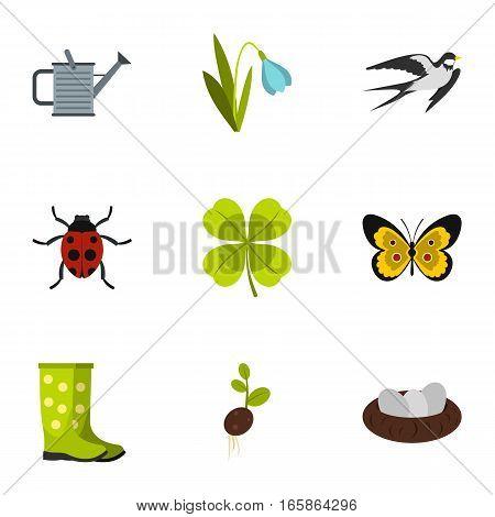 Garden maintenance icons set. Flat illustration of 9 garden maintenance vector icons for web