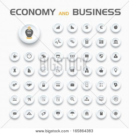 Economy and business icons on buttons and white background