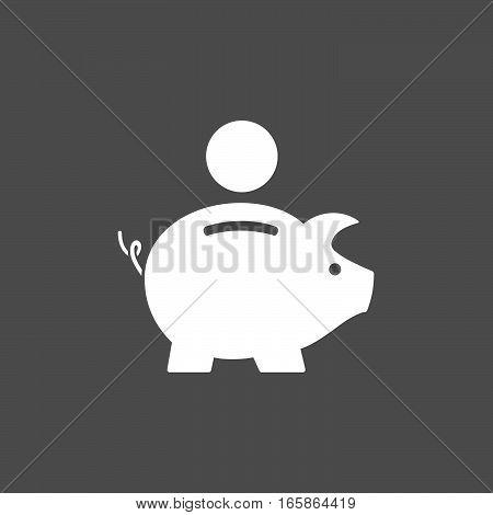 Isolated piggy bank icon on dark background