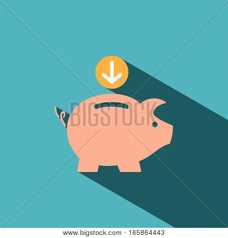 Piggy bank icon with shade on blue background